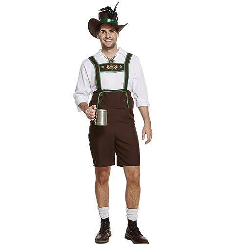 GERMAN BEER MENS BAVARIAN LEDERHOSEN OKTOBERFEST FESTIVAL FANCY DRESS PARTY SIZE STANDARD ALSO INCLUDES HAT AND TOP