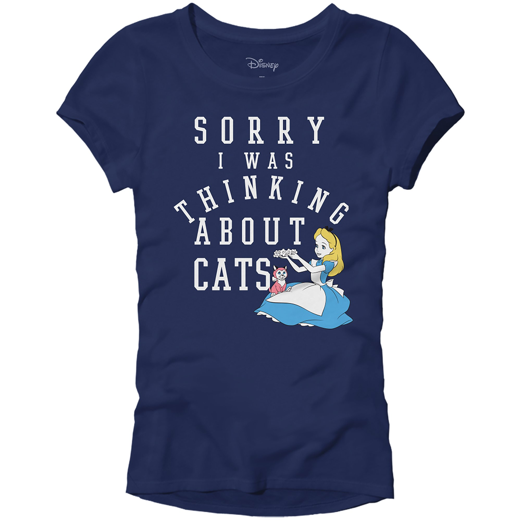 Disney Alice in Wonderland Juniors Thinking About Cats T-Shirt (Small, Navy)