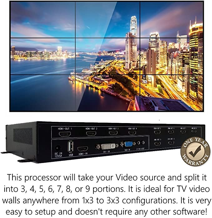 3x3 HDMI Video Wall Processor (2018 Version) HD TV 1080P Matrix ...