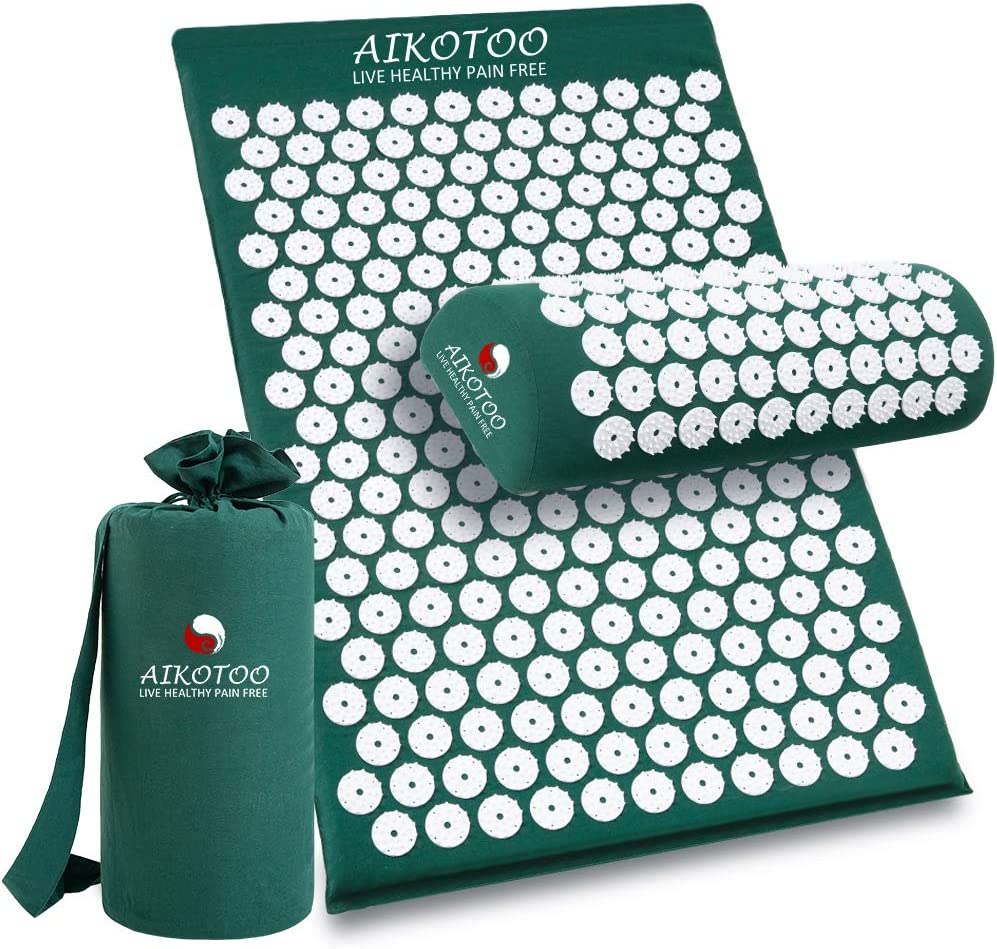Acupressure Mat and Pillow Set for Sciatic Pain Back Pain and Neck - Dark Green