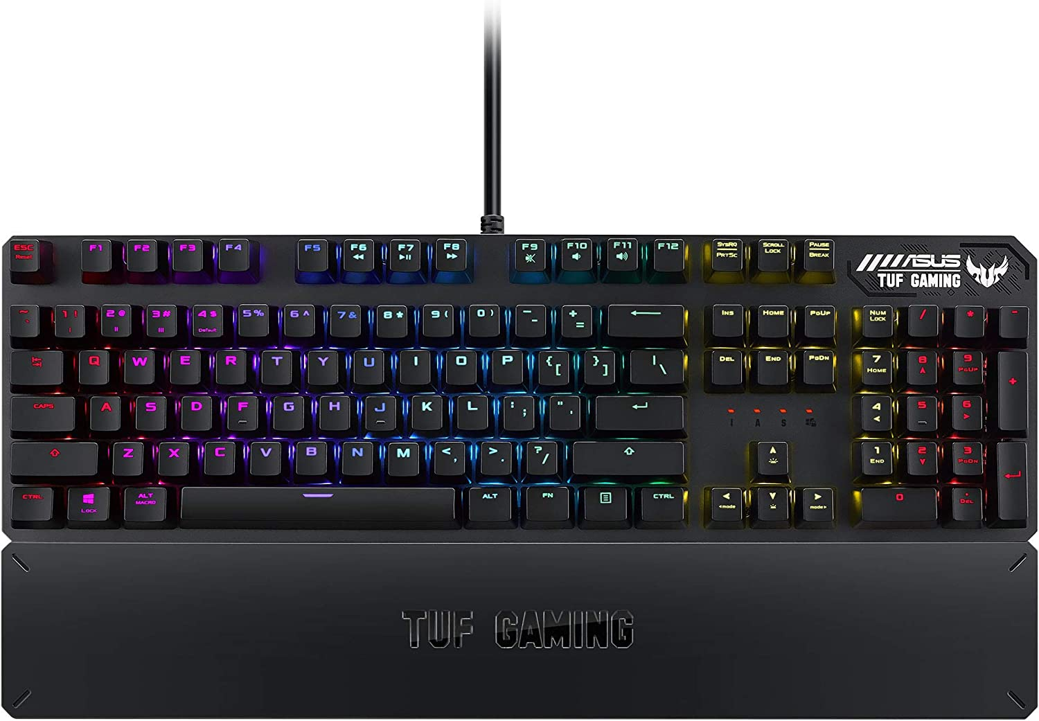 ASUS Mechanical PC Gaming Keyboard for PC - TUF K3 | Programmable Onboard Memory | Dedicated Media Controls, Aura Sync RGB Lighting | Detachable Magnetic Wrist Rest | Highly Durable | Black