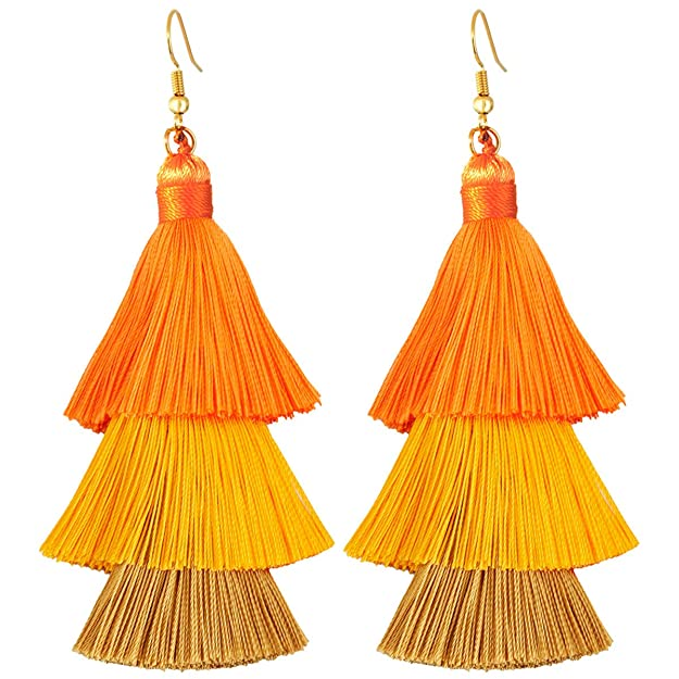 Vintage Style Jewelry, Retro Jewelry SUNYIK Gradual Tiered Thread Tassel Dangle Earrings for Women Round Druzy Stud Earring  AT vintagedancer.com