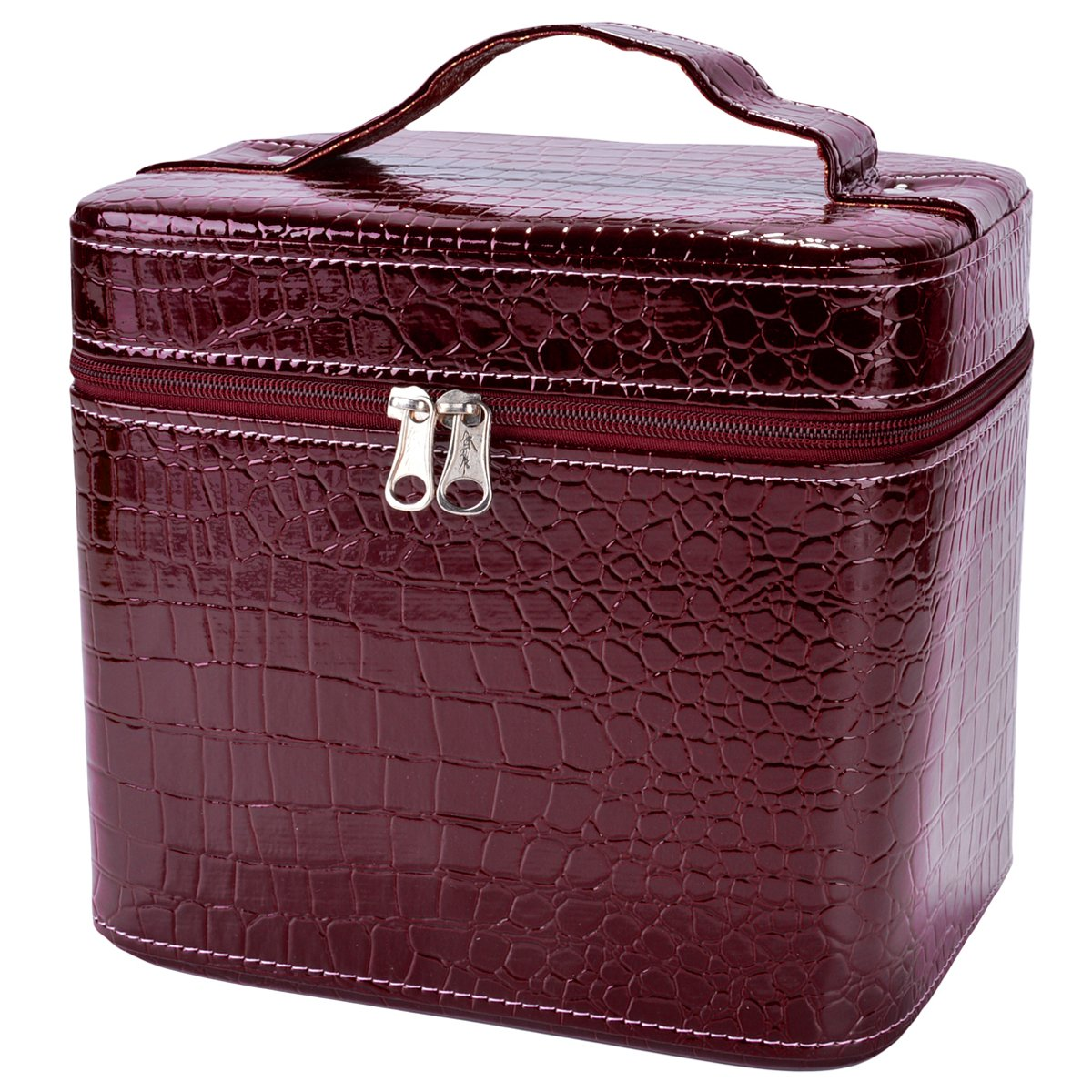 Train Case,COOFIT Portable Travel Makeup Case Crocodile Pattern Leather Beauty Box for Women Large Red