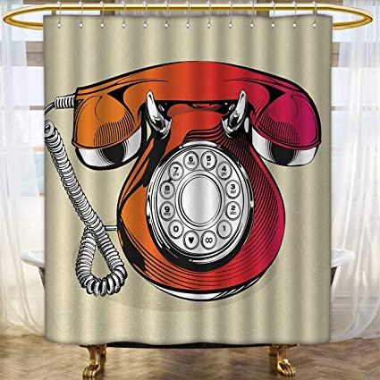 Red Print Shower Curtain Illustration Of A Classic Retro Telephone With Numbers Vintage Art Design