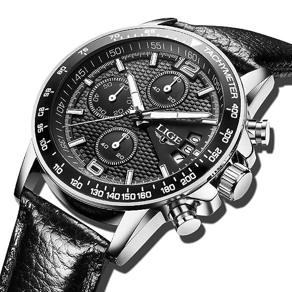 Cuero Moderno Negro Militar Impermeable Reloj Pulsera Lujo Cronógrafo Relojes Analógico Hombre Marca Cuarzo De Hombres Lige tQsrhd