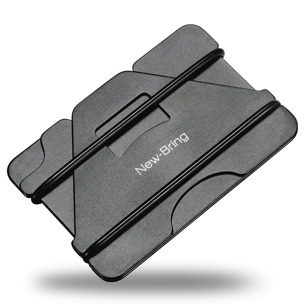 NEW-BRING Metal Credit Card Holder and Slim Money Clip Wallet (Black)