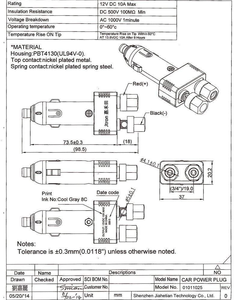 Jtron Dc 12v 10A voiture prise allume-cigare m/âle avec c/âble dalimentation /électrique pour prendre le pouvoir noir