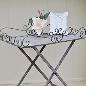 Grey Metal Butler Tray On A Stand Folding Tray Table