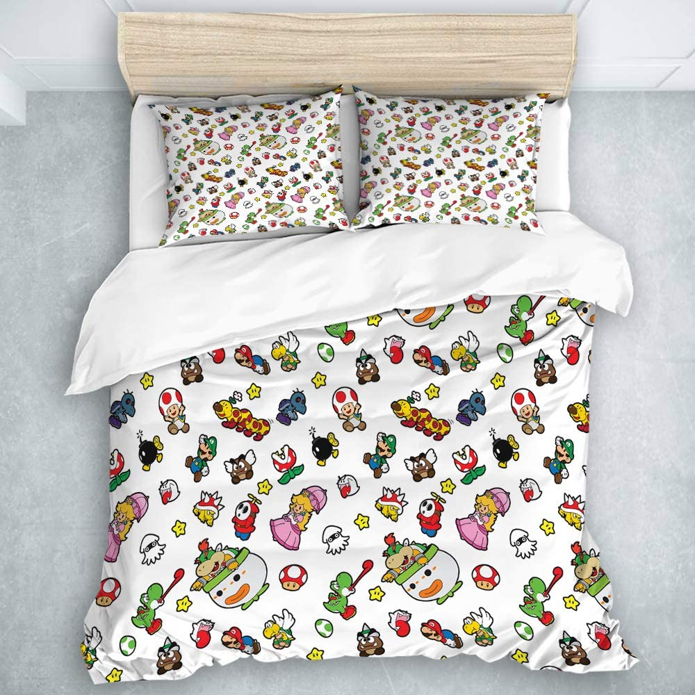 MOASTORY 3 Piece Duvet Cover Set, It's A Really Super Mario Pattern, Soft Bedding Set for Kids Girls, Queen Size