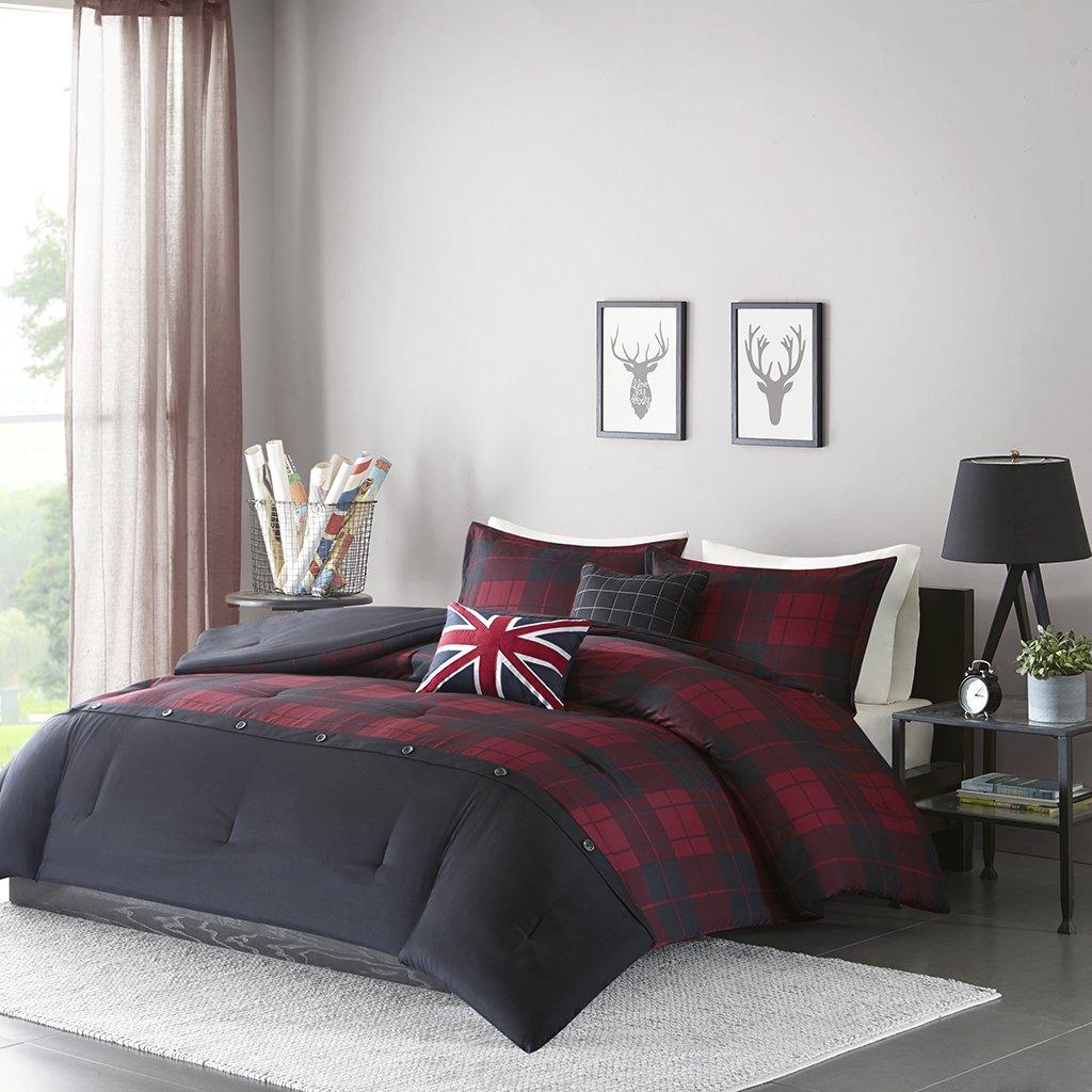 Intelligent Design Bryce Full/Queen Comforter Set Teen Boy Bedding - Red, Black, Plaid – 5 Piece Bed Sets – Ultra Soft Microfiber Bed Comforter