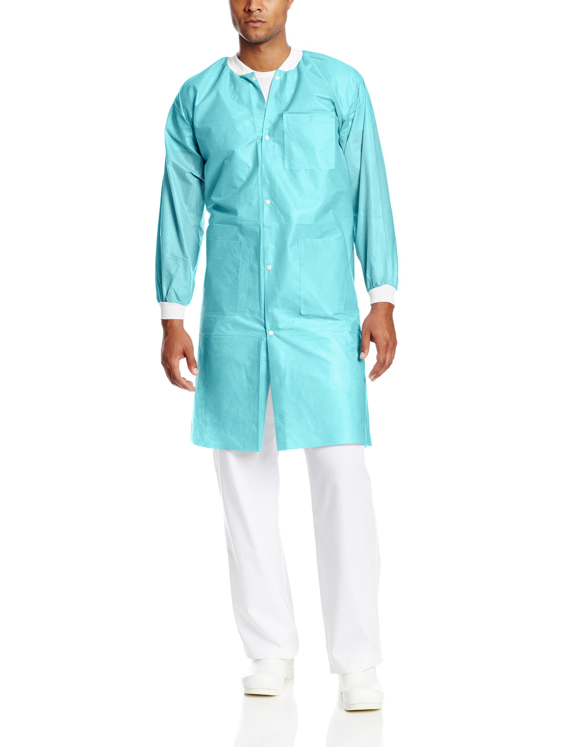 ValuMax 3660TEM Extra-Safe, Wrinkle-Free, Noble Looking Disposable SMS Knee Length Lab Coat, Teal, M, Pack of 10
