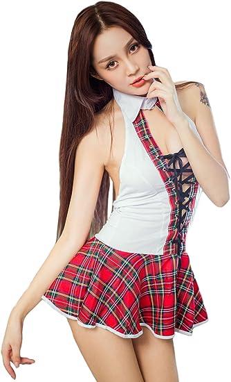 Disfraz de colegiala sexy para mujer, uniforme de bar rojo White + ...