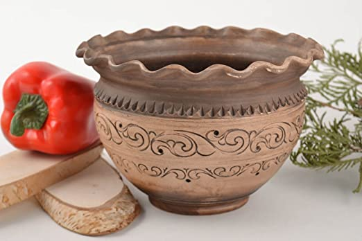 Pote de arcilla sin tapa tratado con plata artesanal original ...
