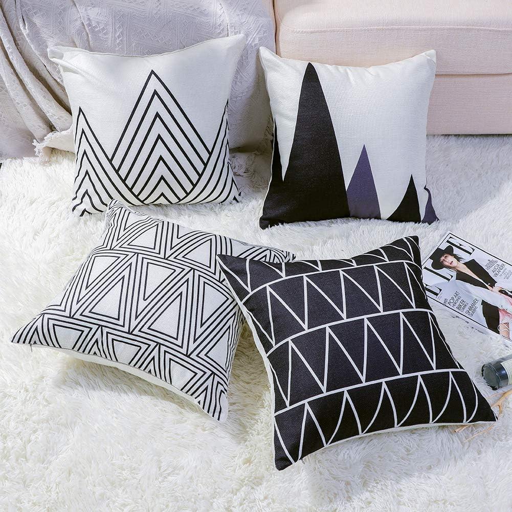 JOTOM Lot de 4/housses de coussin d/écoratives en coton et lin doux style automnal 45/x/45/cm 45 x 45 cm Bauernhaus A