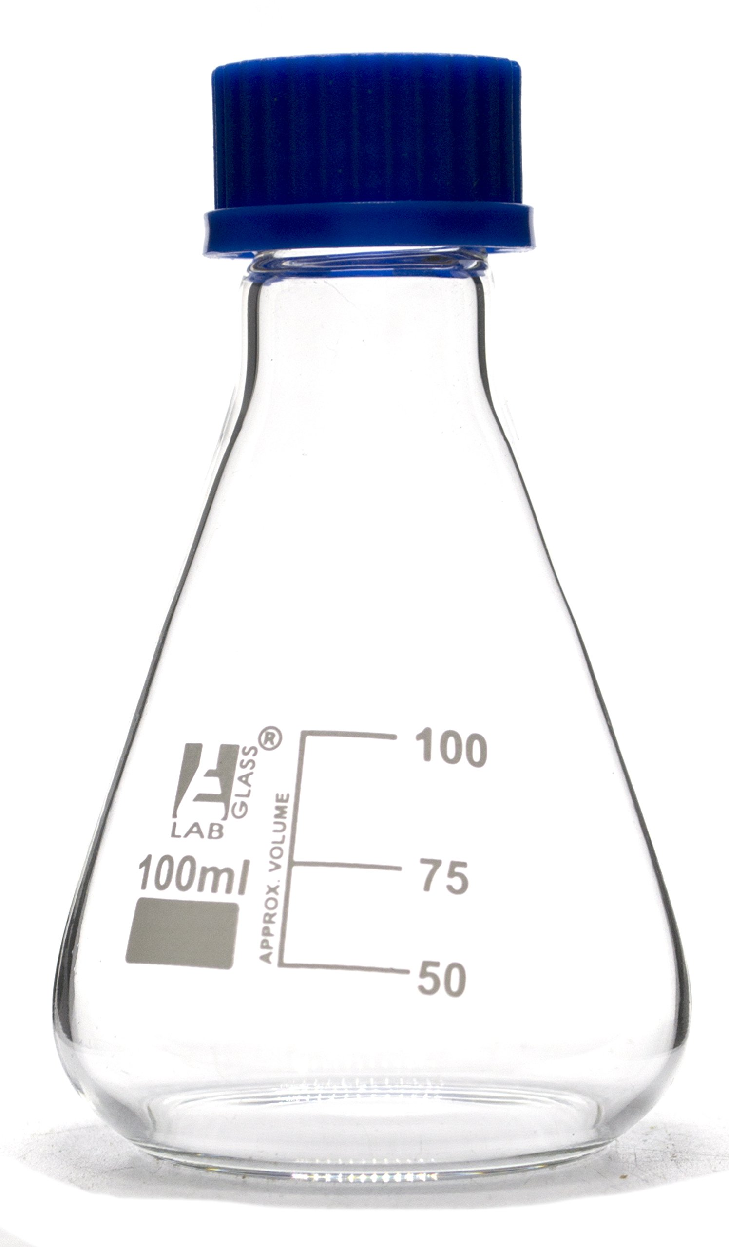 100mL Glass Erlenmeyer Flask with PTFE Lined Screw Cap, Borosilicate 3.3 Glass - Eisco Labs by EISCO