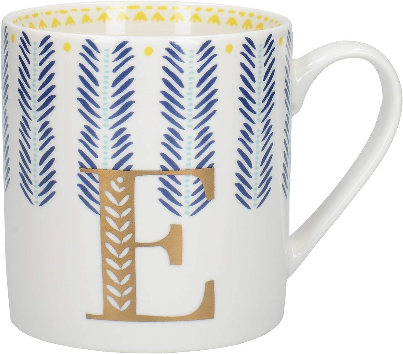 Creative Tops Alphabet Mug with Novelty 'E' Design, Fine China, Multi-Colour, 350 ml (5 of 26 Letter Mugs)