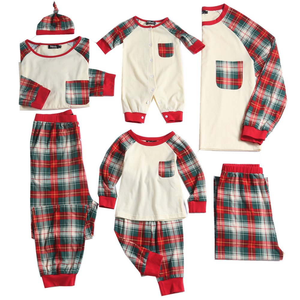 PopReal Men Plaid Family Matching Clothes Long Sleeve and Pants Christmas Pajamas Set