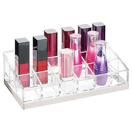 mDesign Práctico organizador de maquillaje – Decorativa caja para guardar cosméticos como esmaltes de uñas o