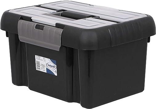 Tontarelli TON219 - Caja de herramientas útil con tapa y asa, 10 L, color negro grafito: Amazon.es: Bricolaje y herramientas