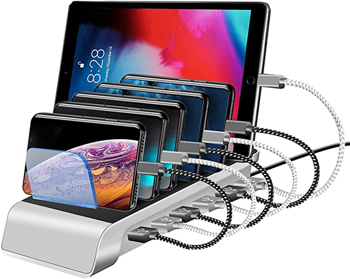 USB Charging Station Dock 6-Port Fast Charge Docking Station for Multiple Devices Multi Device Charger Organizer Compatible with Apple iPad iPhone and Android Cell Phone Samsung Galaxy and Tablets