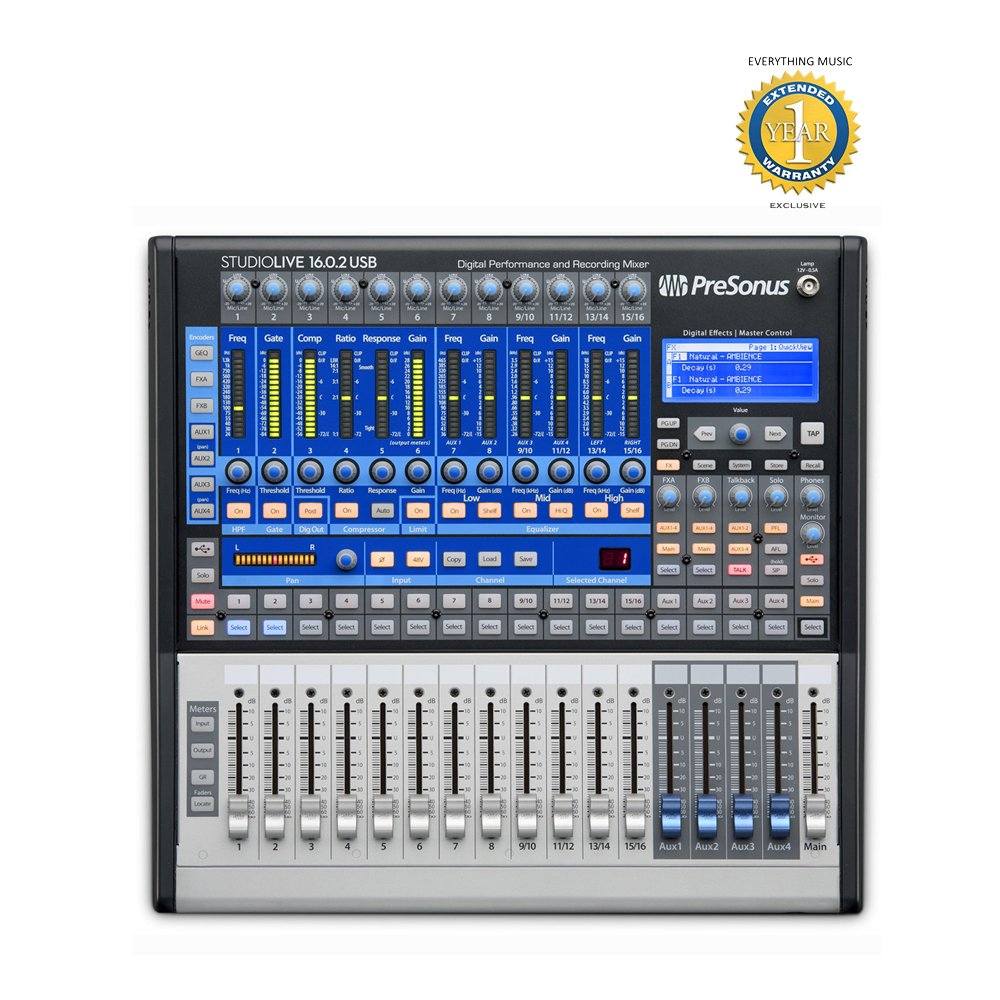 PreSonus StudioLive 16.0.2 USB 16x2 Performance and Recording Digital Mixer with 1 Year EverythingMusic Extended Warranty Free