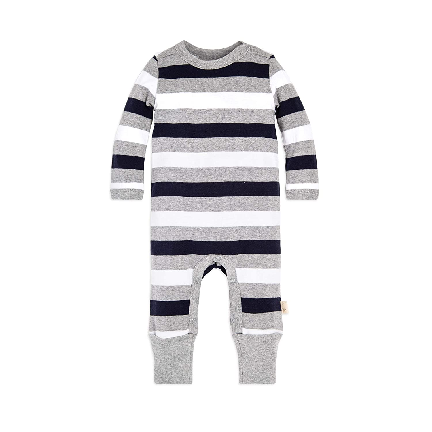 Burt's Bees Baby Baby Boys Romper Jumpsuit, 100% Organic Cotton One-Piece Coverall, Multi Rugby Stripe, 12 Months