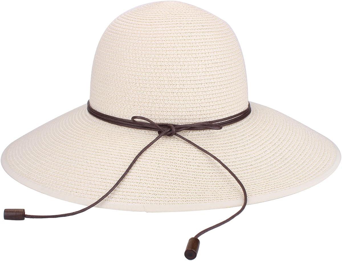 Sombrero de disquete Summer Beach Sombreros de paja de Sun Sombrero de protecci/ón anti-UV de viaje Packable UPF 50 Sombrero de ala plegable plegable de viaje Cap para mujeres