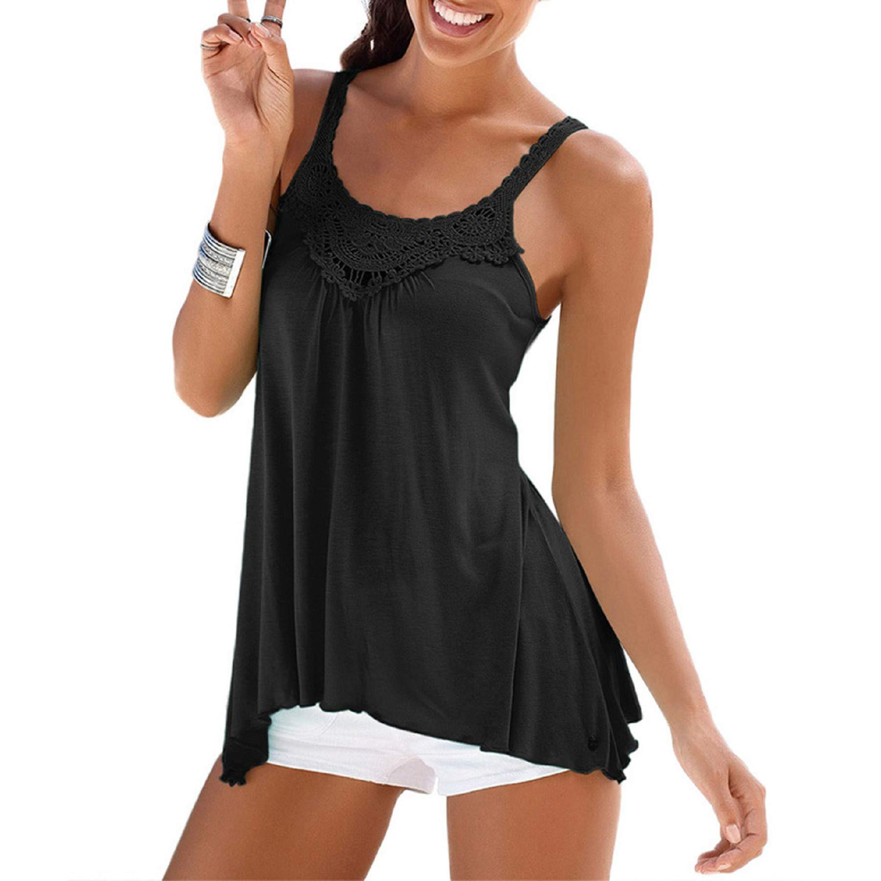 Women's Sleeveless Flowy Tank Top, Women Casual Summer Lace Strappy Vest Top Shirt Blouse Cami Tops Black