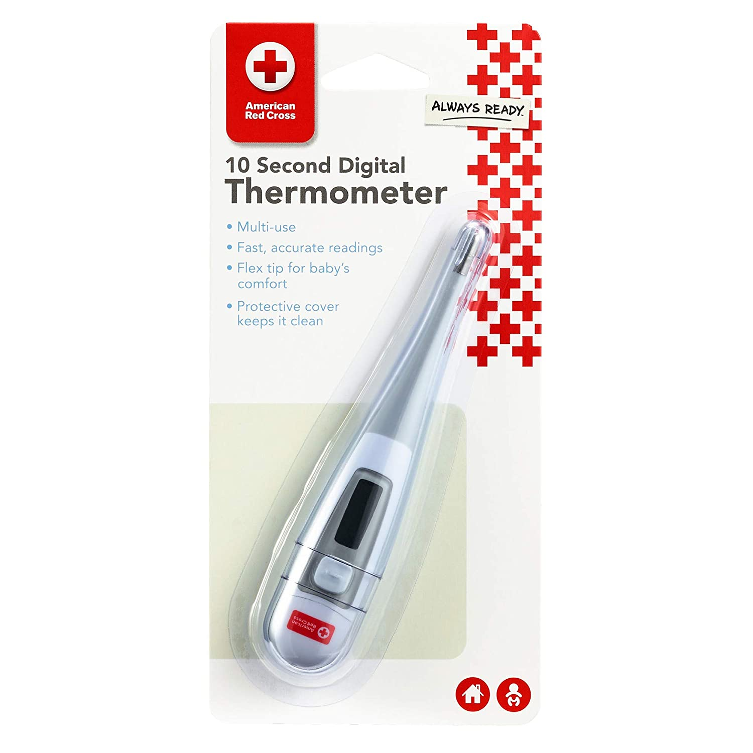 American Red Cross 10 Second Digital Thermometer - Multi-Use Thermometer with Protective Cover