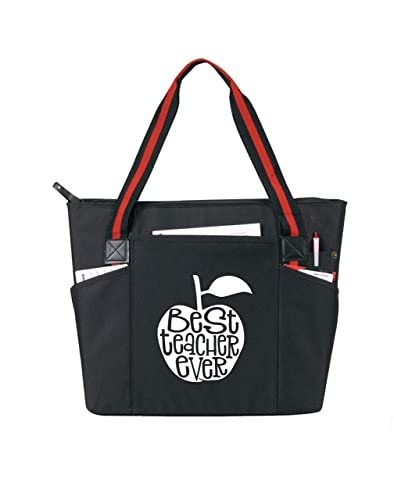 959521b96d7 Best Teacher Ever Large Zippered Teacher Tote Bags with Pockets - Perfect  for Work, Gifts