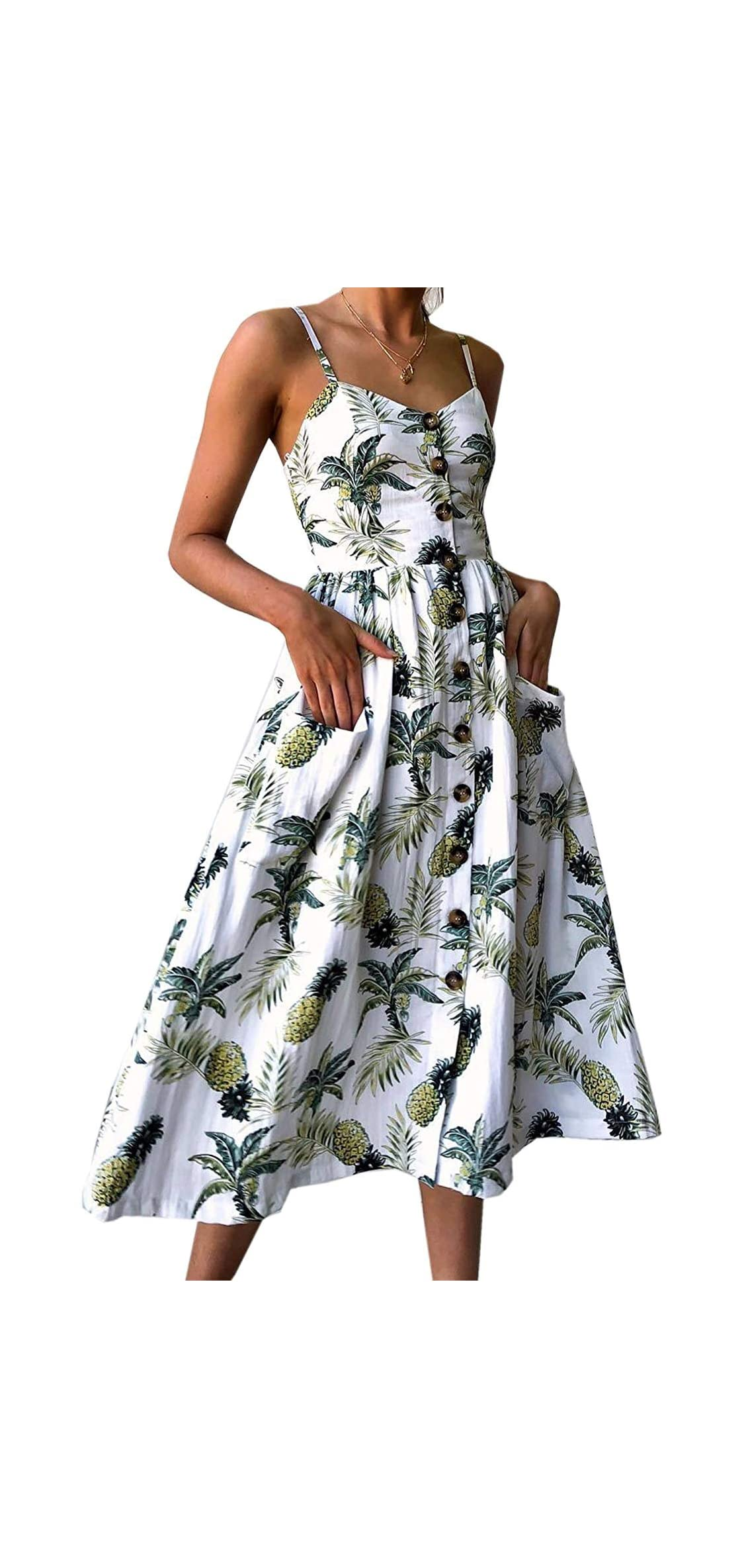 Women's Summer Sundress Spaghetti Strap Floral Button