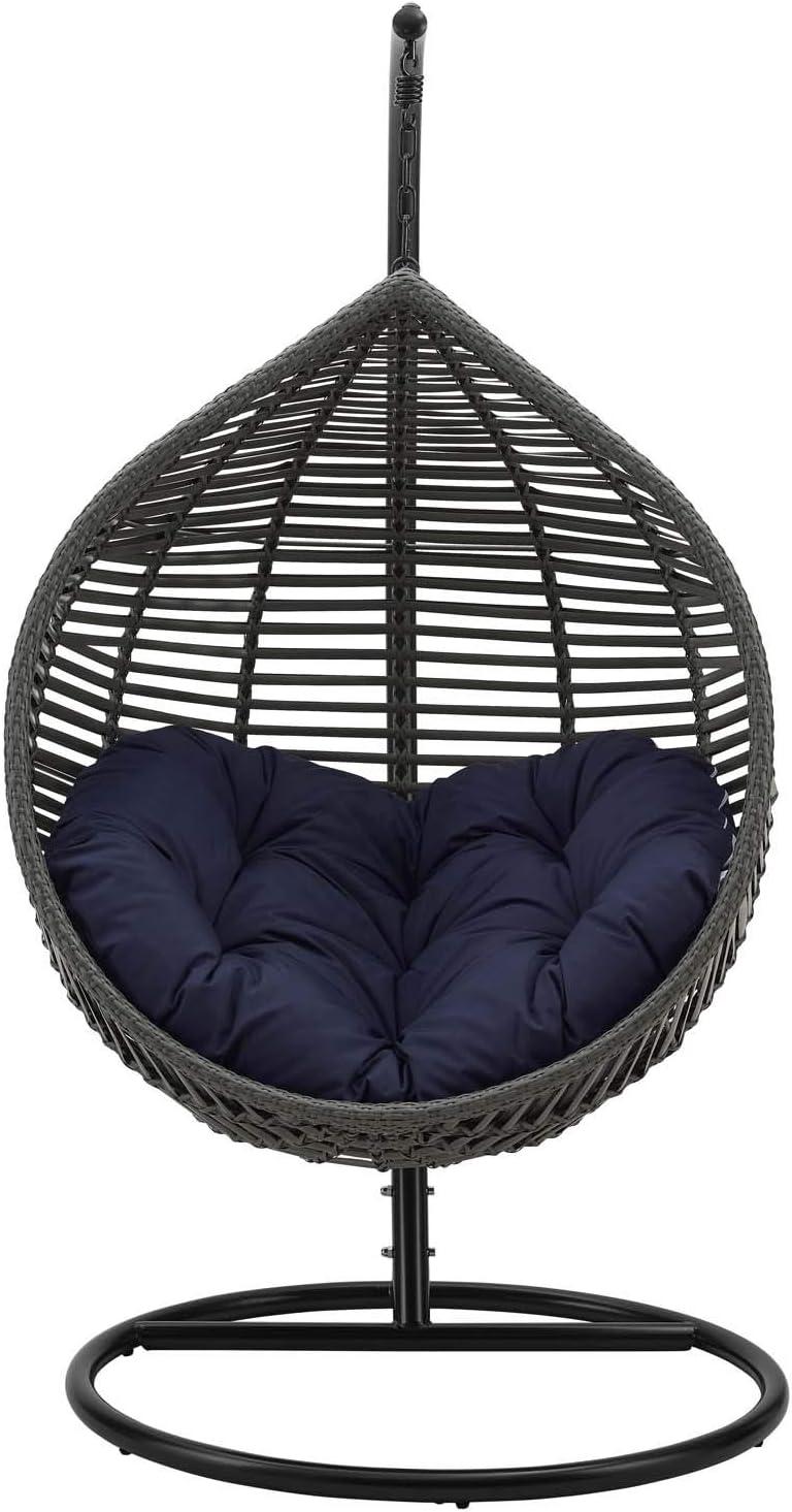 Modway Garner Outdoor Patio Wicker Rattan Teardrop Swing Chair In Gray Navy Amazon Co Uk Kitchen Home
