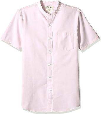 Marca Amazon - Goodthreads – Camisa Oxford con cuello en banda de manga corta y corte entallado para hombre: Amazon.es: Ropa y accesorios