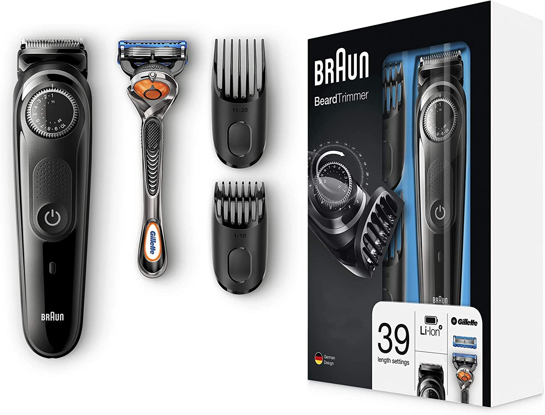 Braun Recortadora Barba BT5042 - Máquina Cortar Pelo, Recortadora Barba y Cortapelos, con Cuchillas Afiladas de Larga Duración, Color Negro/Gris