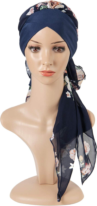 Haarausfall Marineblau Kopfbedeckung Kopftuch Kopftuch Everkeen Chemo Turban f/ür Frauen Krebskappe