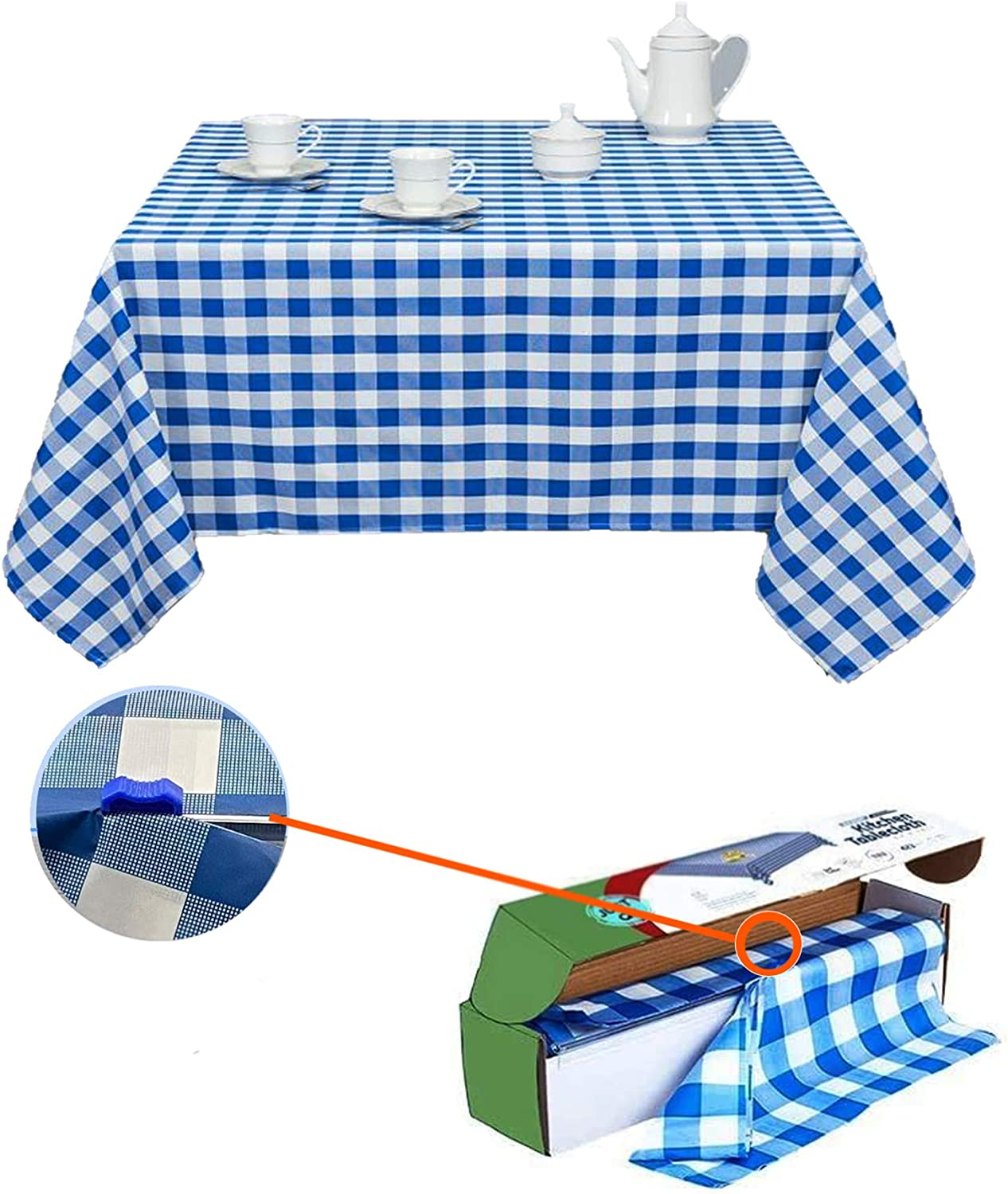 Blue Gingham Checkered Table Cloth - 20x Normal Tables roll - Self Cutter Picnic Durable Table Cover Plastic, Tablecloth Rectangle Roll 54 Inch X 100 | Water Resistant Party Decor