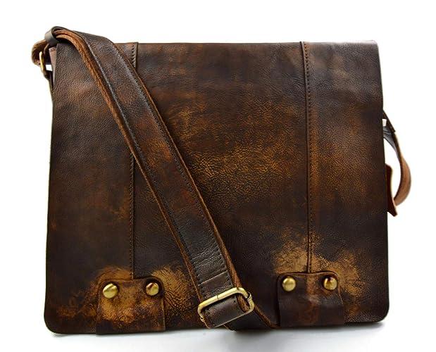 daf2d5651356b3 Herren leder vintage schultertasche ledertasche gürteltasche braun  umhängetasche tragetasche damen leder seitentasche retro tasche