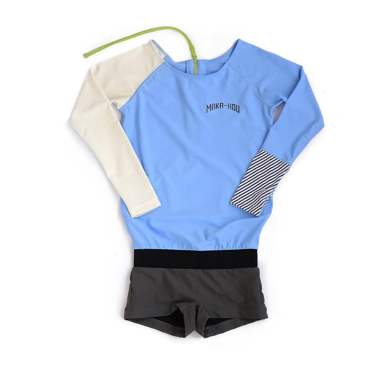 MAKA-HOU マカホー レディース 長袖 ラッシュガード [21W17-81S] Rash Guard with Hot Pants ホットパンツ 一体型水着 マカホウ ((2502) ブルー_バニラ/, L) B077ZN1VDJ