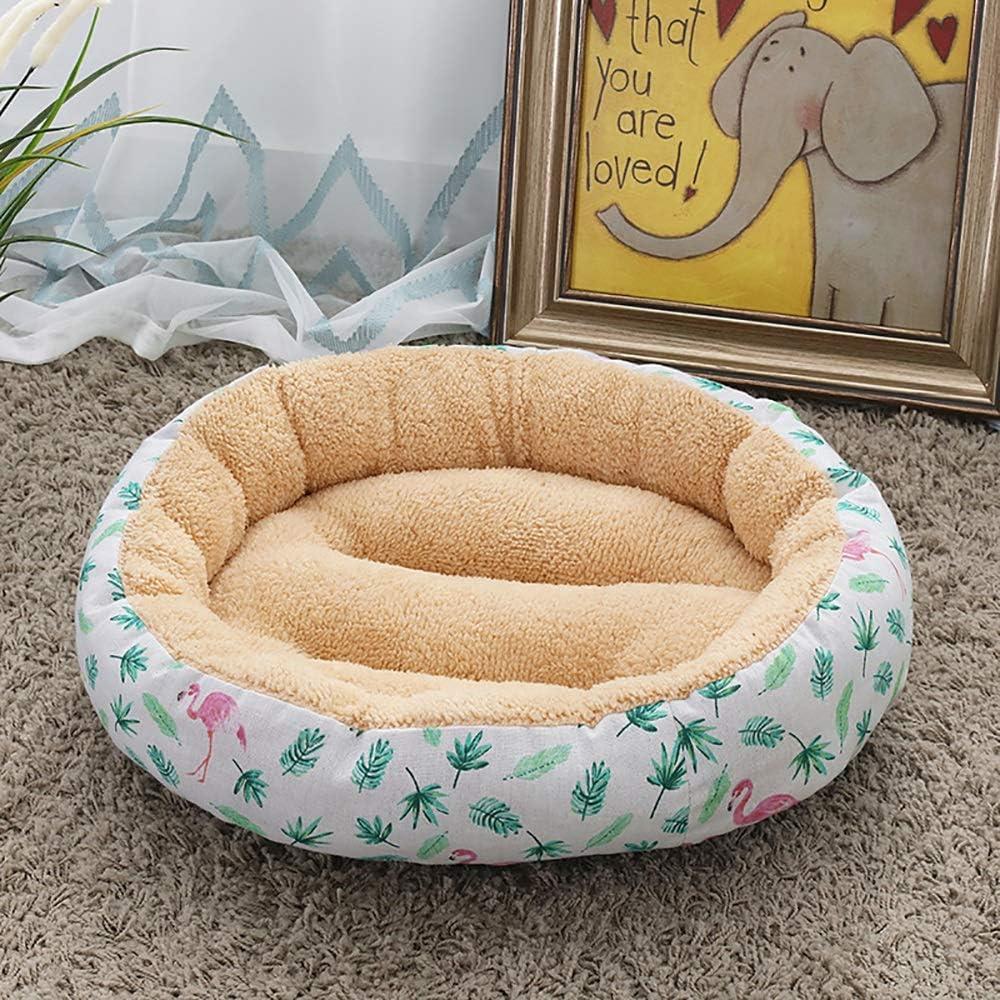 Stella Fella Suministros for Mascotas Beige/Leaves + Flamingo Sencilla Perrera Cat Cat Litter Small Medium Dog Pet Dog Pad 50 * 50 * 14 cm
