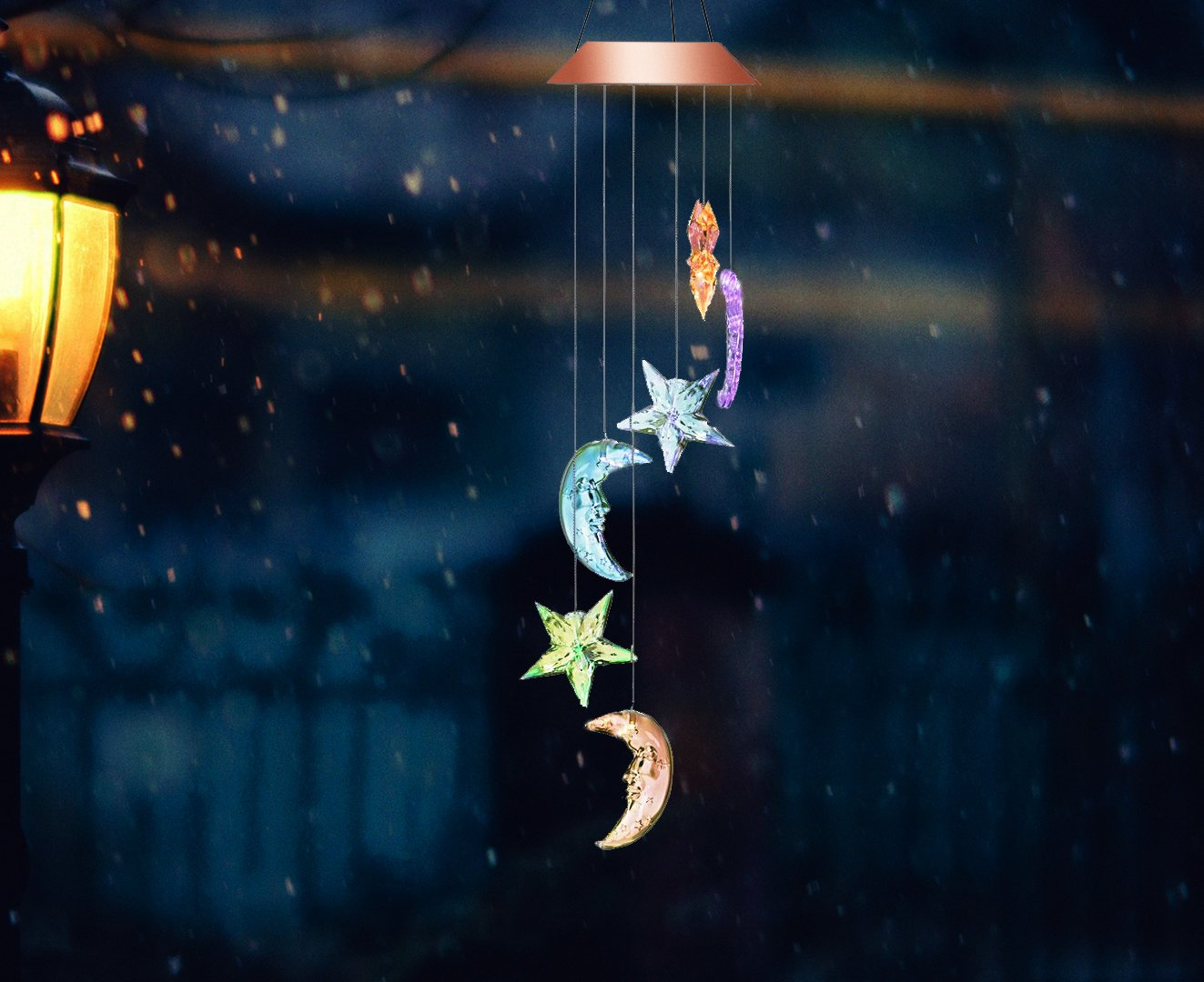 Color-Changing LED Solar Powered Wind Chime, Waterproof Star and Moon Shapes Wind Chimes for Home/Outdoor / Party/Garden / Yard Decoration