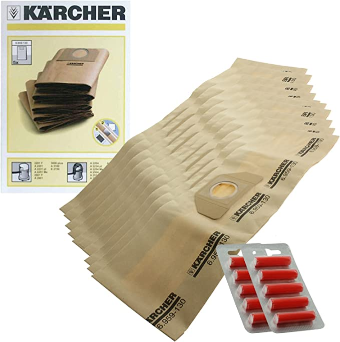 Genuine Karcher A2254 A2534 MV3 aspiradora doble bolsas de filtro (unidades 10 + 10 ambientadores): Amazon.es: Hogar