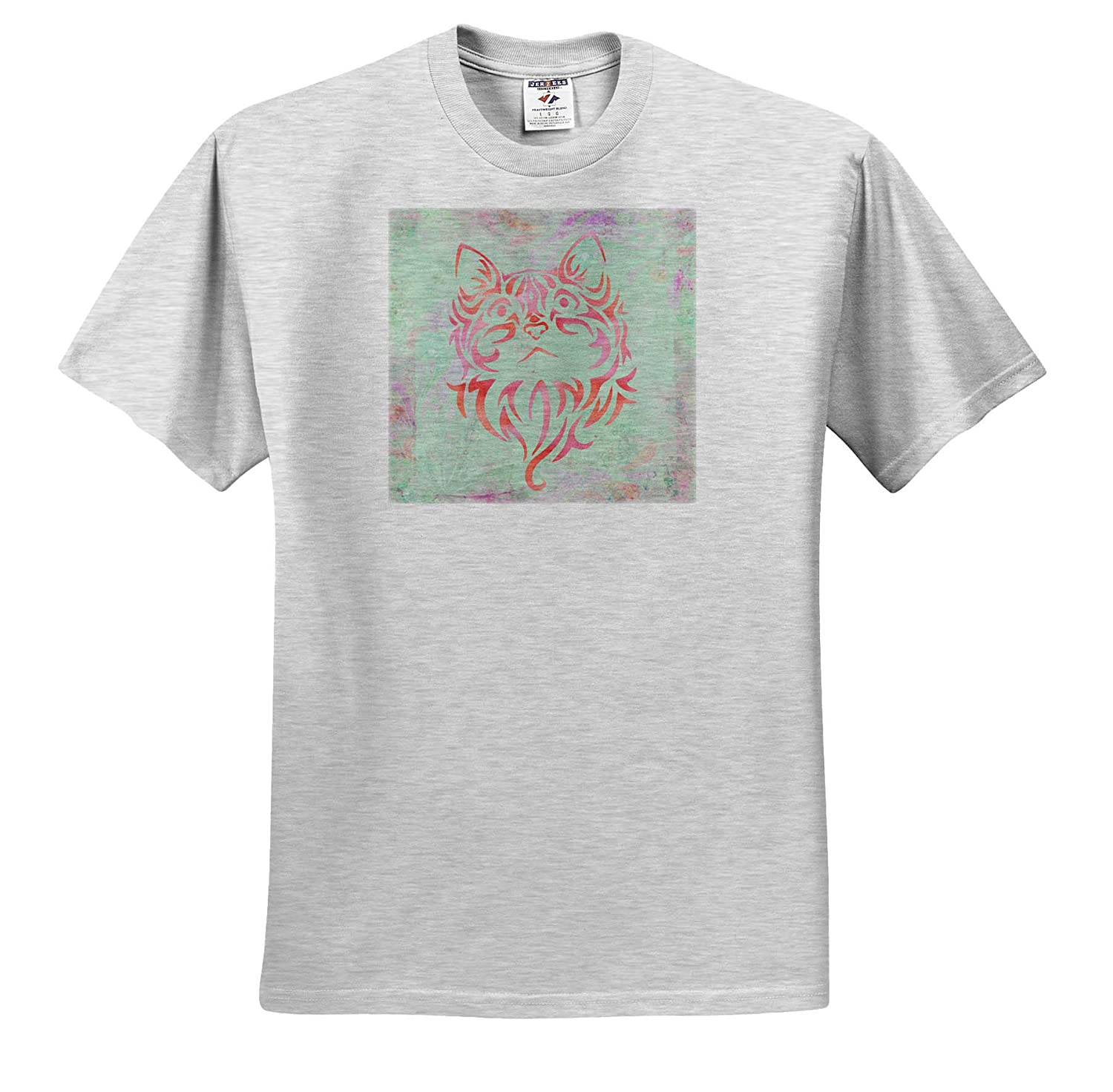 3dRose Andrea Haase Animals Illustration T-Shirts Tribal Cat Design in Pastel Colors of Pink and Teal