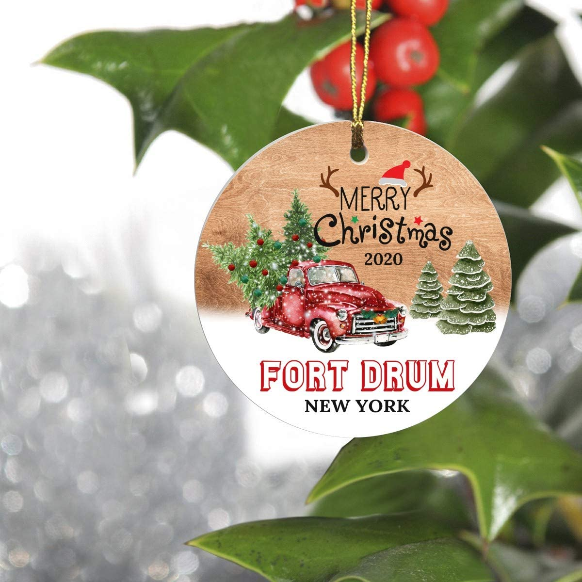 """Merry Christmas Tree Decorations Ornaments 2020 - Ornament Hometown Fort Drum New York NY State - Keepsake Gift Ideas Ornament 3"""" For Family, Friend And Housewarming"""