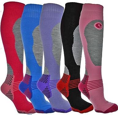6ac7e508b 4 Pairs - HIGH PERFORMANCE ladies ski socks - long hose thermal socks -  Size UK 4-7 (EUR 35-41): Amazon.co.uk: Clothing