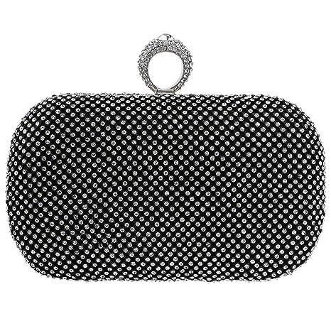 Noche Bolso Mujer Bolsas Fiesta Boda Carteras Brillo Mano Diamantes Cadena Embrague Negro
