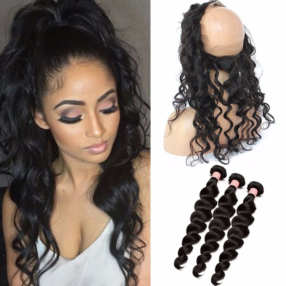 Malaysian Hair Loose Deep Wave Ear To Ear 360 Lace Frontal Closure