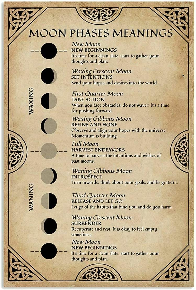 Metal Sign Moon Phases Meanings Witchery Tin Sign Bar Home Decoration New Year Sign The Best Gift for Parents, So That Children Can Gain Knowledge in Daily Life 8X12 inch