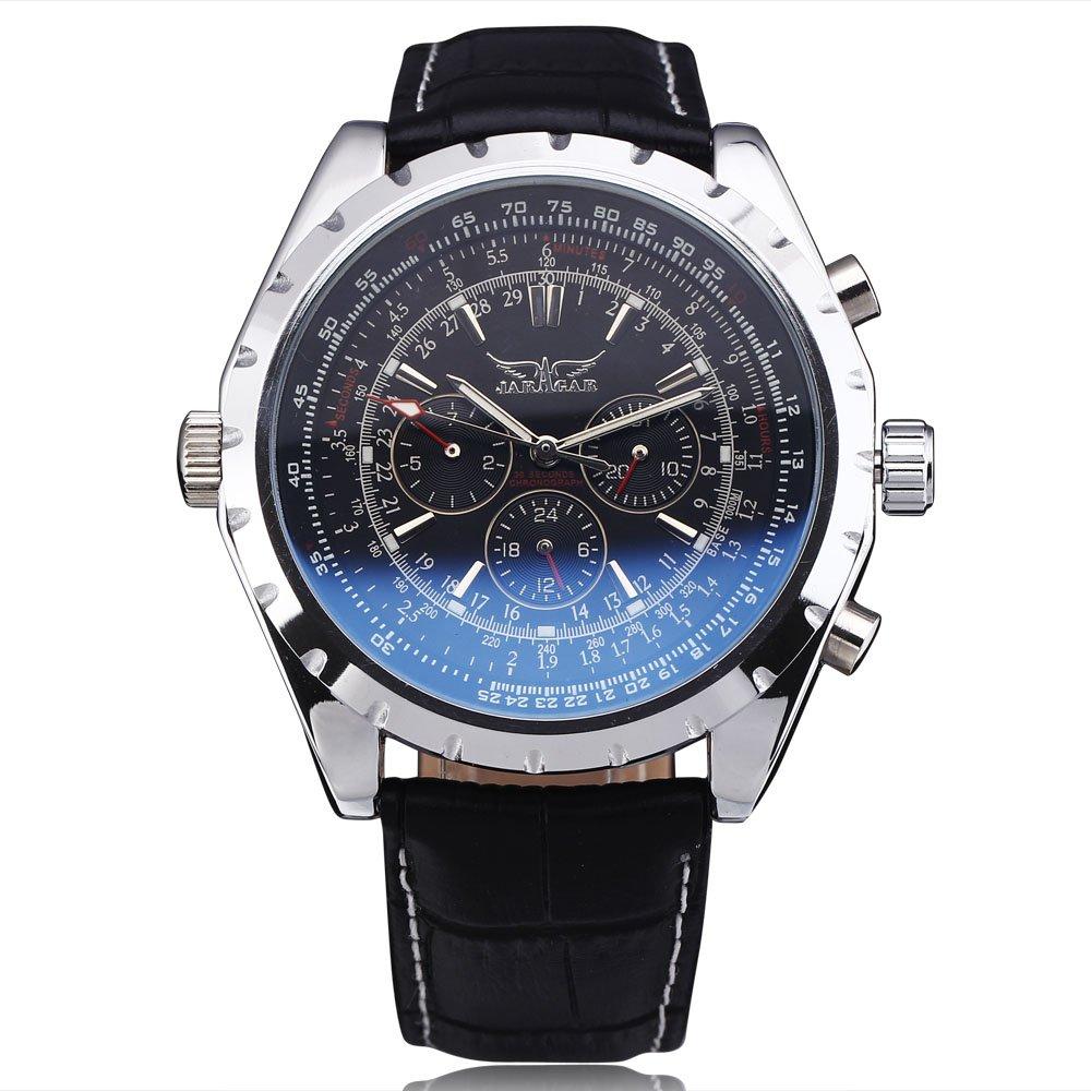 JARAGAR Fashion Luxury Brand Mechanical Watches Men Coated Glass Automatic Calendar Hour Week Dial Leather Strap Wristwatch