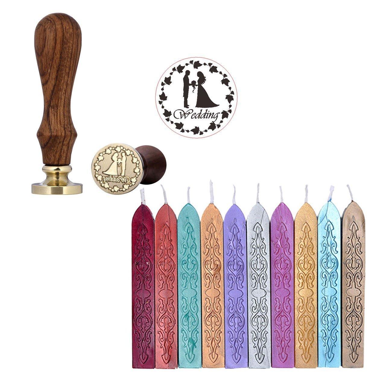 Siegel-Stempelset von mogoko 1/Siegelstempel und 10/antike Siegelwachsstangen mit Docht Wedding