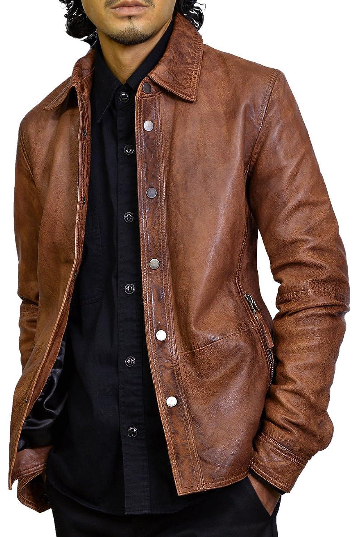 レザーシャツジャケット 革ジャン メンズ 本革 レザージャケット ラムレザー アウター ブラウン B078HLP4V8 M